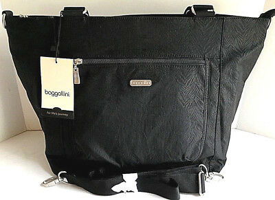 3f750cd23f NEW BAGGALLINI Pocket LAPTOP TOTE Black Zebra Embossed Nylon Crossbody  Shoulder
