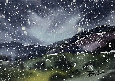 ACEO ATC original art miniature painting by Bill Lupton - Country Snow