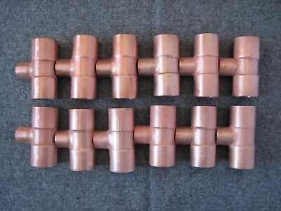 12 Nibco 3/4X3/4X1X2 Copper Sweat Copper Tees, (( Free Shipping))