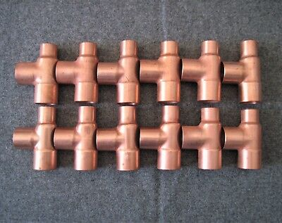 12 Nibco 3/4X1/2X3/4 Copper Sweat Solder Tees ((Free Shipping))