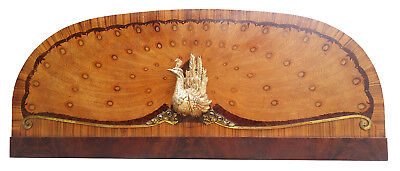 Art Deco 1920 Marquetry Inlaid PEACOCK PANEL Architectural Bed Headboard Bronze