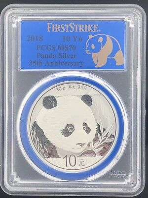 2018 10YN PCGS Ms70 panda Silver 35Th Anniversary Blue Core And Label