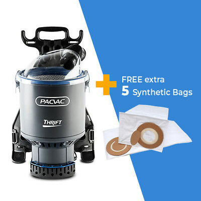 Pacvac THRIFT 650 Commercial Backpack Vacuum Cleaner + FREE Extra 5 Dust Bags