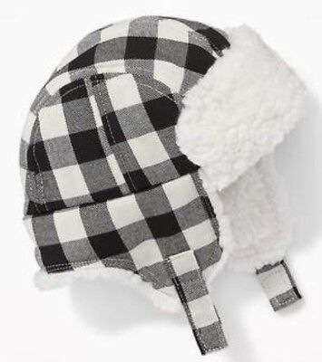 Old Navy Sherpa-lined Plaid Trapper Hat Black white Size 18-24 Months 6c90dfa7ac6