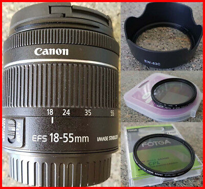 Canon EF-S 18-55MM F4-5.6 IS STM Zoom Lens as new with hood & bonus 58mm filters