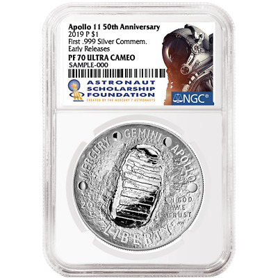 2019 P Apollo 11 50th Anniversary Proof Dollar NGC PF70 Early Releases In Hand