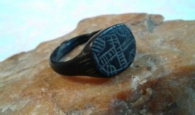 Rare Antique Medieval Bronze Signet Ring  With Hand-Carved Cross