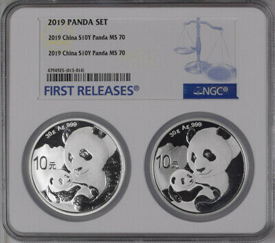 NGC MS70 2019 China 30g Silver Panda Coins Set First Releases #01