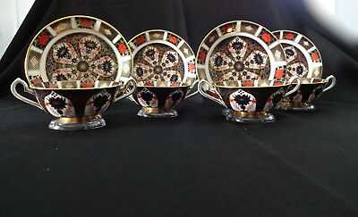 Set of 4, Vintage, Royal Crown Derby, Old Imari, Cream Soup Cup and Saucer