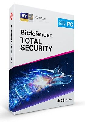 Bitdefender Total Security 2019 for Windows | 1 PC - 1, 2, 3, 4, 5 Year | No Key