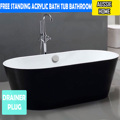 Free Standing Acrylic Bath Tub Bathroom Black Drainer plug included