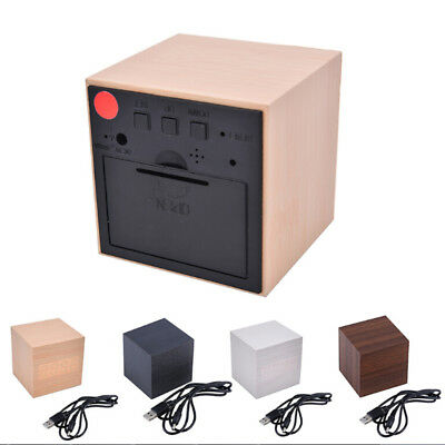 Modern Cube Wooden Wood Digital LED Desk Voice Control Alarm Clock ThermometerBL