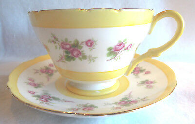 Shelley English Bone China Cup and Saucer- Light Yellow +Magenta  + Gold Trim