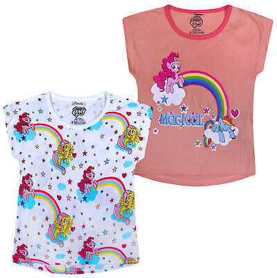 Girls T-shirt My Little Pony 2 PACK Cotton Unicorn Top New Age 2 3 4 5 6 7 Years