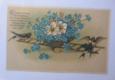 Flowers, Forget-Me-Not, Swallows, Seesaw, 1907, Embossed Postcard (71333)