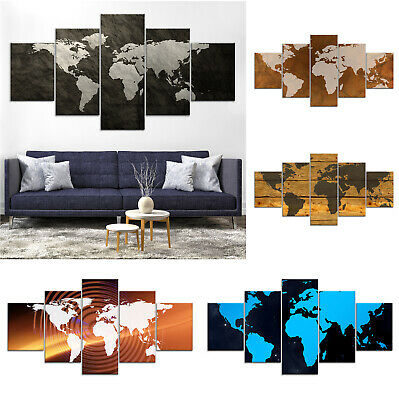 World Map Modern Canvas Print Painting Framed Home Decor Wall Art Poster 5Pcs