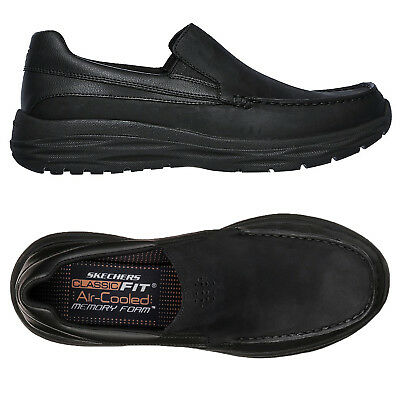 Skechers Mens Harsen Ortego Slip On Loafers Memory Foamed Casual Leather Shoes