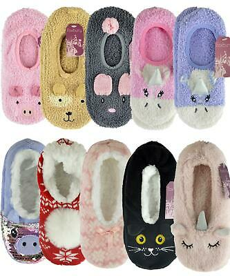 Womens Fun Novelty Fur Knitted Slippers with Grippers Sherpa Lined or Unlined