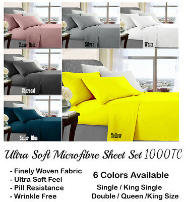 Delux Ultra Soft 1000TC Microfibre Fitted Sheet Sets All Bed Sizes