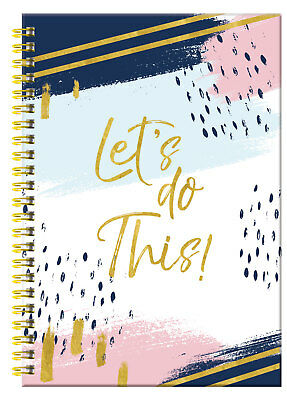 """A5 Pastel """"Lets Do This"""" Hardcover Spiral Bound Lined Notebook Notepad Gift"""