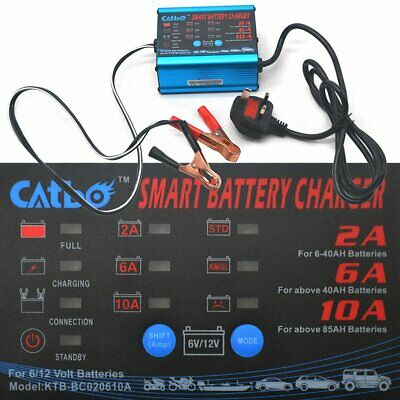 12V 6V 10 Amp Automatic Intelligent Battery Charger Trickle Fast Car Van Motor