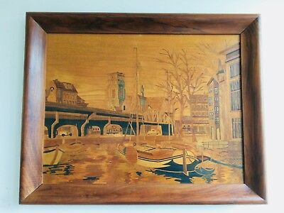 Antique 19th Century Dutch School Wood Inlay Vintage Marquetry Panel Rotterdam