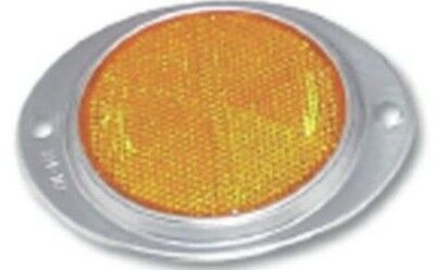 "reflectors (2) oval 3"" amber acrylic aluminum for Peterbilt Kenworth Freightline"
