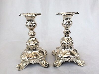 Stylish Pair Of German Sterling Silver Candlesticks