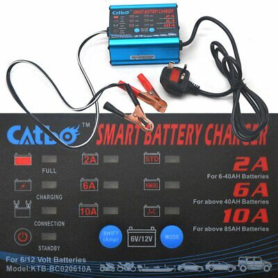 Car Battery Charger Automatic Intelligent 12V 6V Cars Bike Vans 4 Charging Modes
