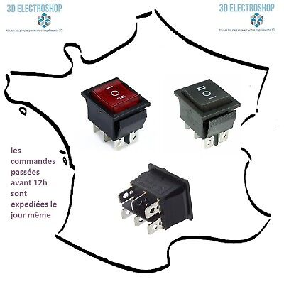 Interrupteur à bascule ON-OFF-ON permanent 15A 250V 28x22mm noir ou rouge
