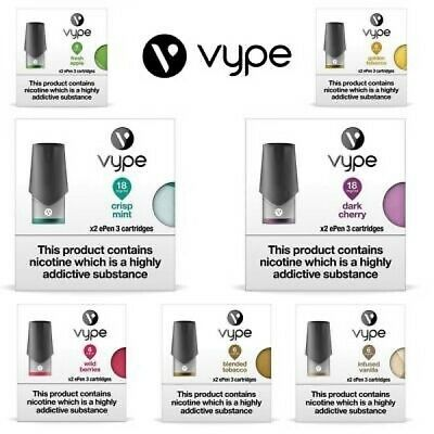 Vype ePen 3 Cartridge (Pack of 2) | Pods Refills | All Flavours | (6mg, 12mg,18)