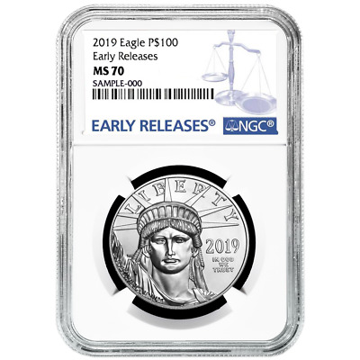 2019 $100 American Platinum Eagle NGC MS70 Blue ER Label