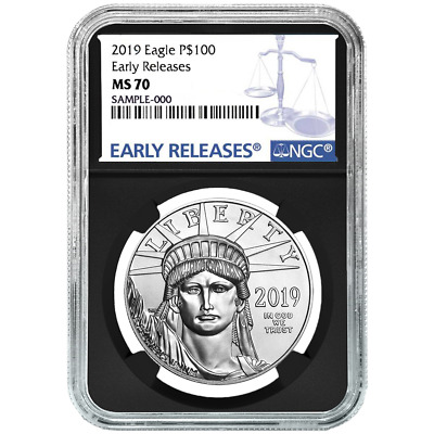 2019 $100 American Platinum Eagle NGC MS70 Blue ER Label Retro Core