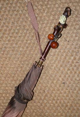 Antique Kendall Ladies Umbrella W/ Rustic Branch Handle W/ Dyed Amber Cherries