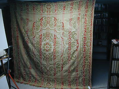 """Antique 19th Century Jacquard Loom Coverlet With Eagles, 82"""" x 76"""""""