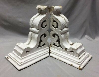 Pr Antique White Roof Corbels Shelf Brackets Shabby Vtg Chic Cornice 40-19M