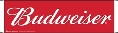 Budweiser 10' x 3' Large Event Banner Sign Beer - Poly Banner with hem and ropes
