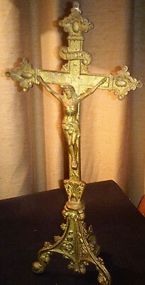 """Vintage Brass Crucifix Altar Cross Ornate Three Footed Pedestal Stand 12"""" Tall"""