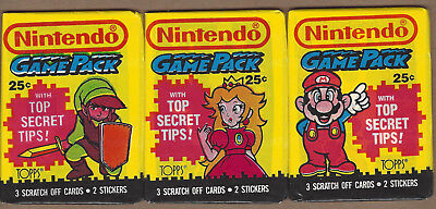 1989 Topps Nintendo Game Pack - Lot Of 3 Different Wax Packs