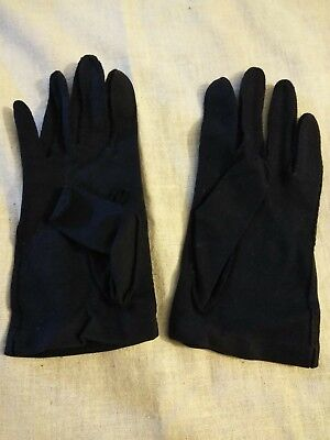 Ladies Vintage Dress Gloves 1 Pair Navy Blue Fabric- Short Length