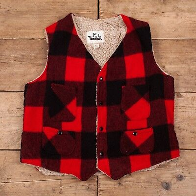 """Mens Vintage Woolrich Red Check Wool Sherpa Field Hunting Vest Large 42"""" R11405"""