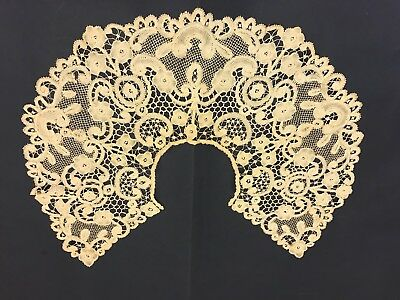 Antique 1800s Lace Collar Belgian Handmade Bobbin Lace Unwashed.