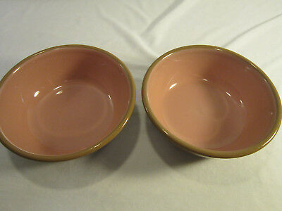 Pair (2)TST Taylor Smith Taylor CHATEAU BUFFET Brown Pink Bowl Cereal Soup Chili