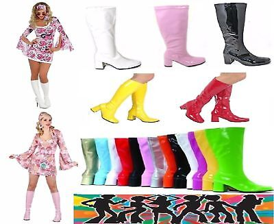 New Women's Fancy Dress Sexy GoGo Knee High Boots Cool 60's 70s Party Sizes 3-12