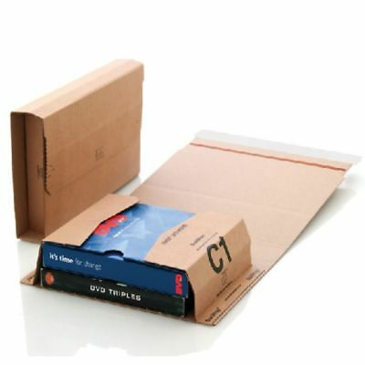 50 x C1 BOOK WRAP BUKWRAP POSTAL BOXES MAILERS 216x154x55mm FREE DELIVERY