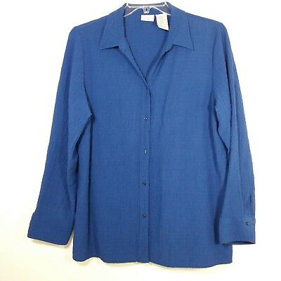 43002529 White Stag Womens Size XXL Blouse Shirt Button Front Long Sleeve Blue