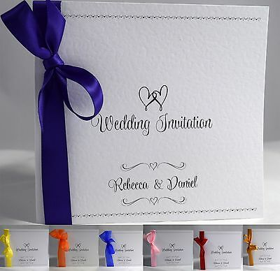 Wishes Personalised Wedding Invitations Ribbon Day Or Evening With