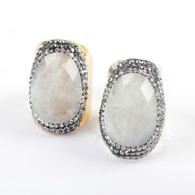 1Pcs CZ Paved Natural White Stone Gemstone Band Ring Gold Silver Plated HJA948