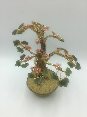 Vintage Swoboda Bonsai Tree Sculpture Carved Jade Gemstone Pink Rock Gold Plate 76 00 Picclick