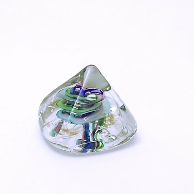 Robert L. Hamon paperweight - freeform pyramid with a swirl - signed art glass